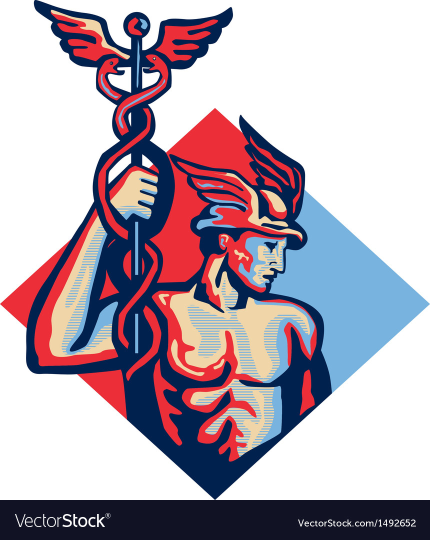 Mercury holding caduceus staff retro vector | Price: 1 Credit (USD $1)