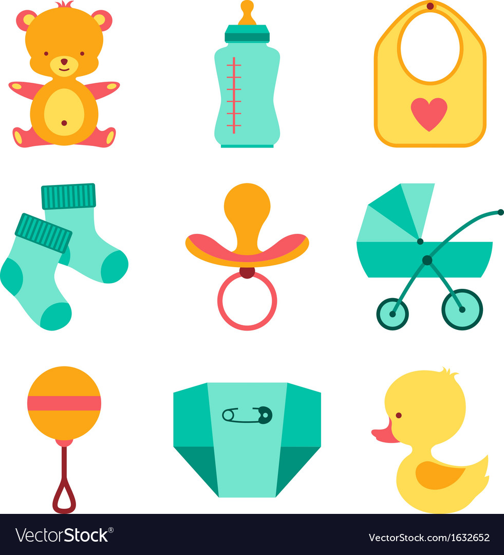 Newborn baby stuff icons set vector | Price: 1 Credit (USD $1)