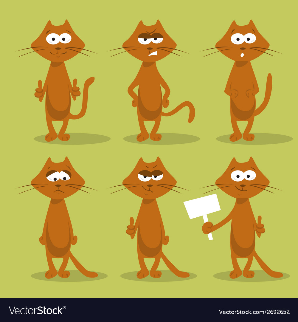 Set of cats with emotions vector | Price: 1 Credit (USD $1)