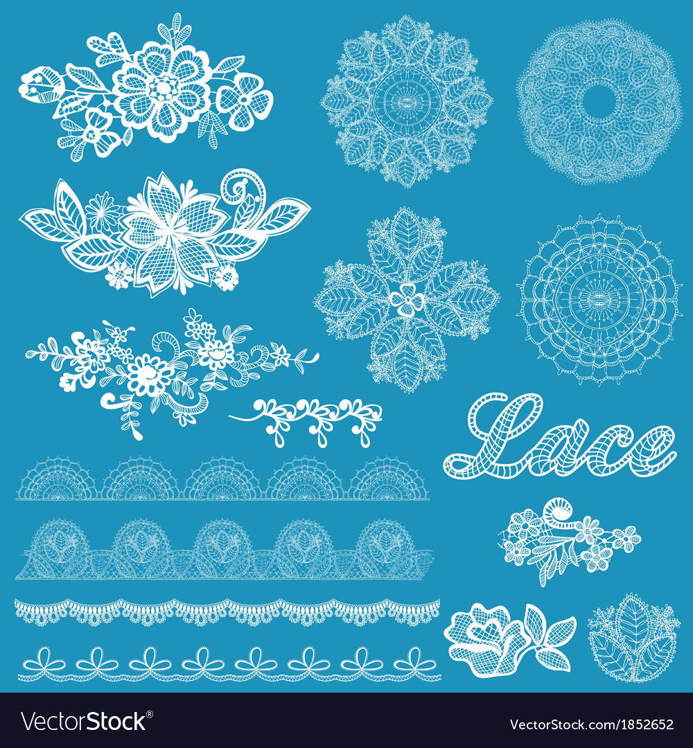 Set of lace ribbons flowers vector | Price: 1 Credit (USD $1)