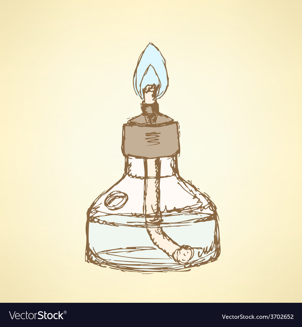 Sketch alcohol burner in vintage style vector | Price: 1 Credit (USD $1)