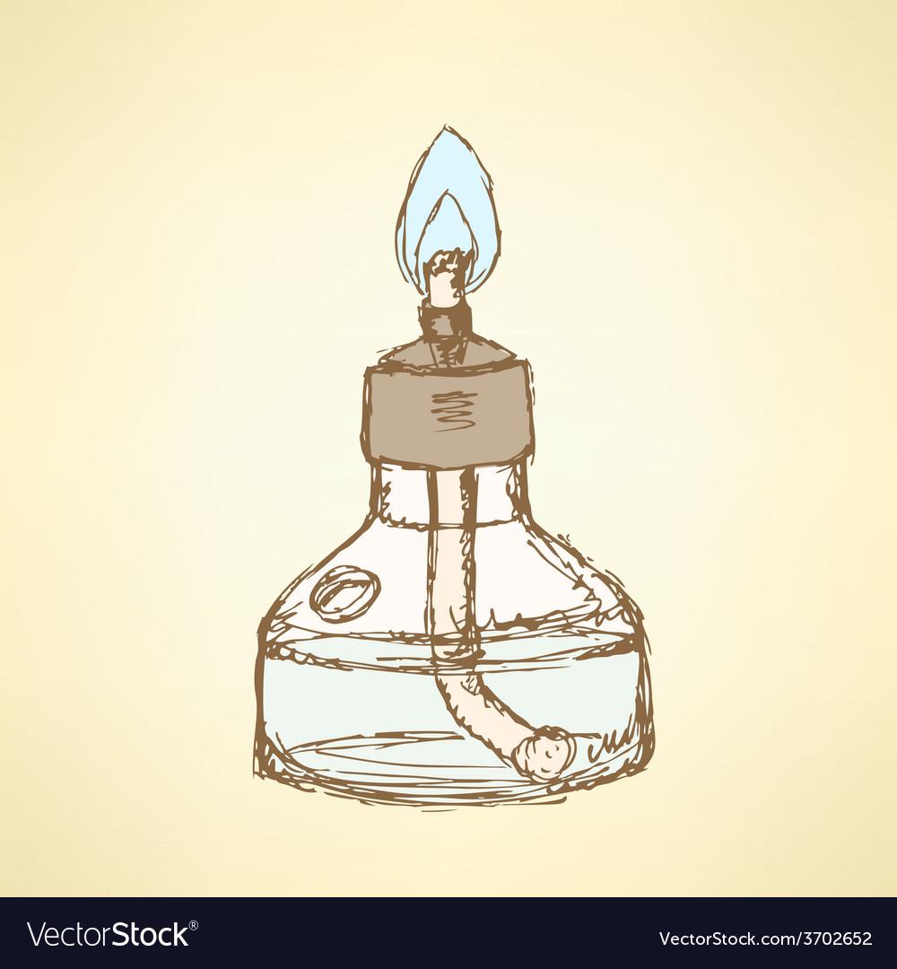 Sketch alcohol burner in vintage style vector | Price: 1 Credit (USD $1)