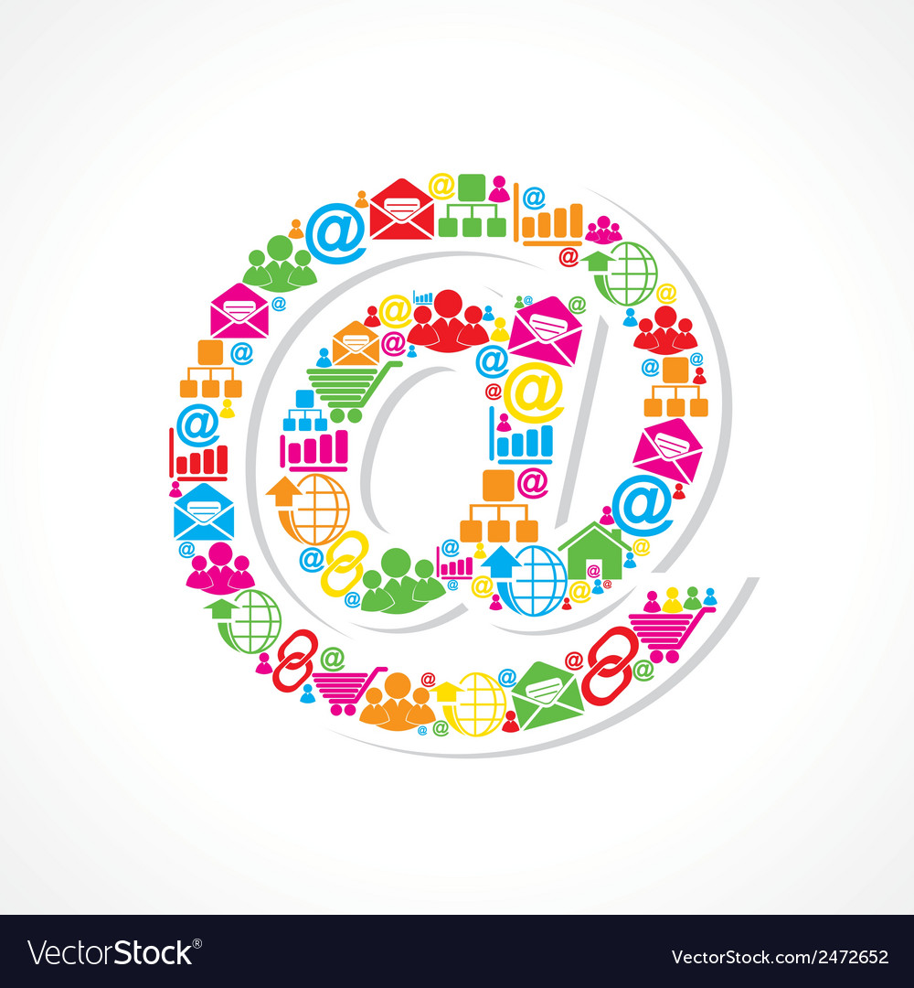 Social media icons make email sign stock vector | Price: 1 Credit (USD $1)
