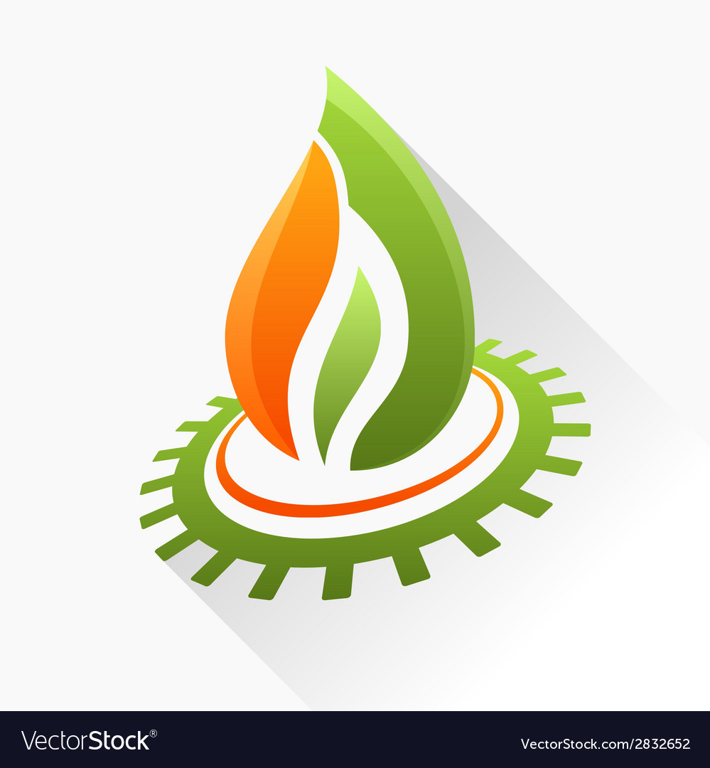 Symbol fire with gear green and orange flame glass vector | Price: 1 Credit (USD $1)