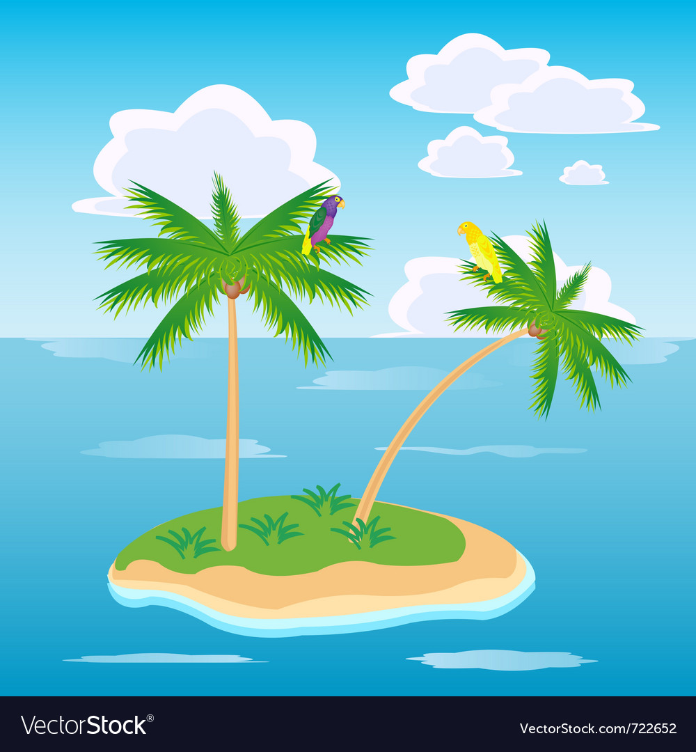 Tropical island in ocean vector | Price: 1 Credit (USD $1)