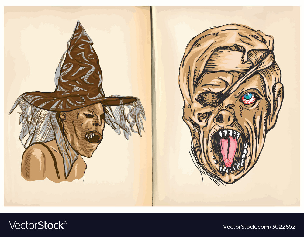 Witch and monster mummy - hand drawings vector | Price: 1 Credit (USD $1)