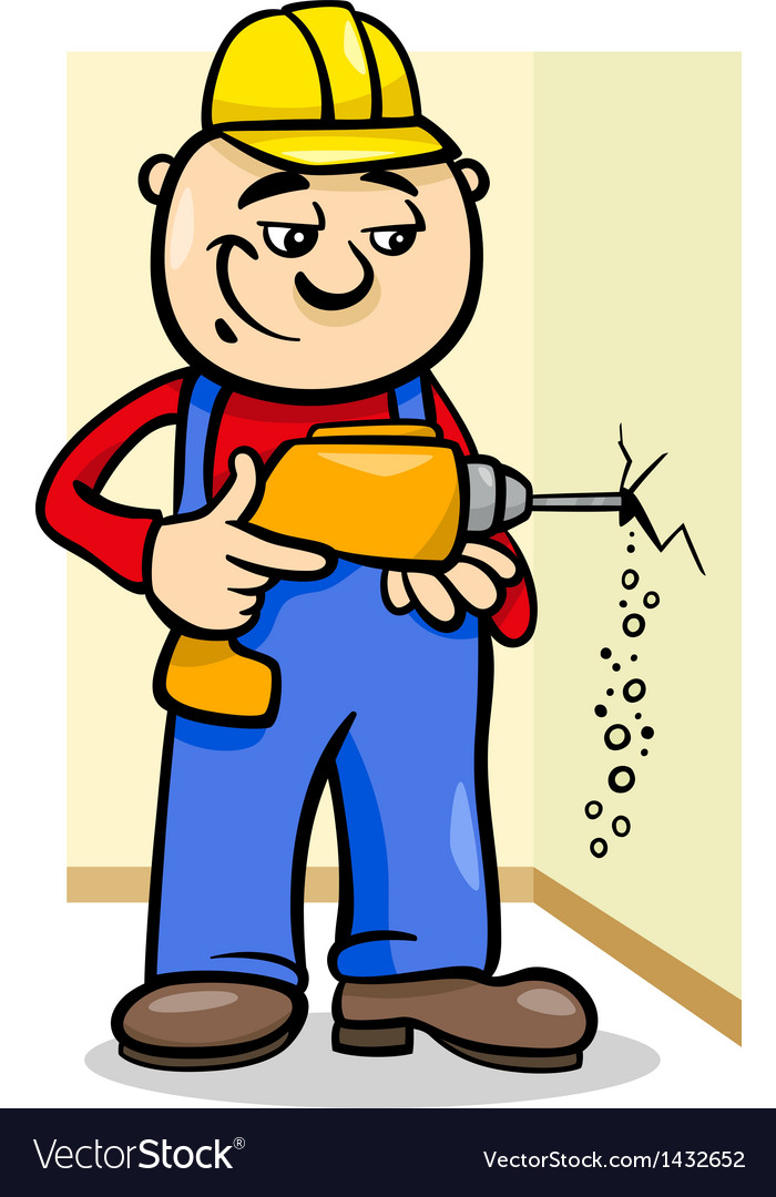 Worker with drill cartoon vector | Price: 1 Credit (USD $1)