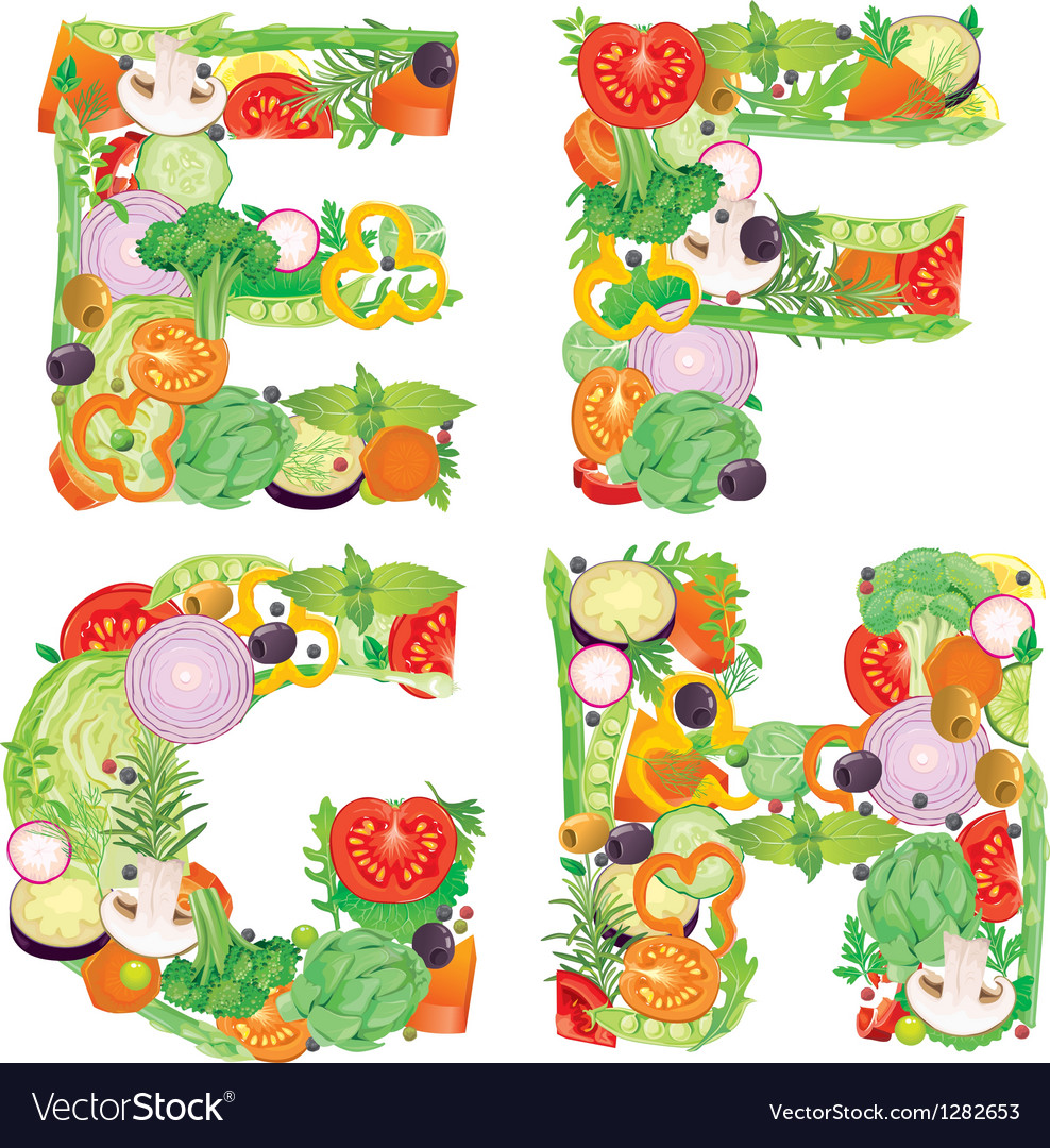 Alphabet of vegetables efgh vector | Price: 3 Credit (USD $3)