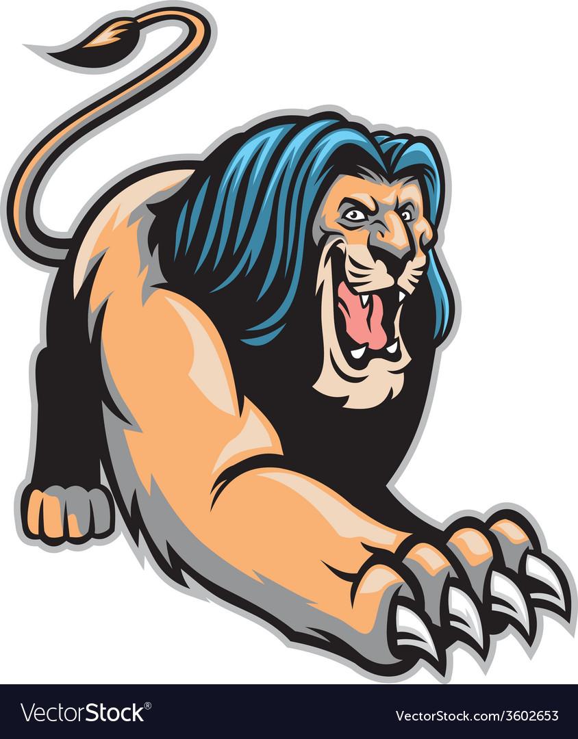 Crawling lion mascot vector | Price: 3 Credit (USD $3)