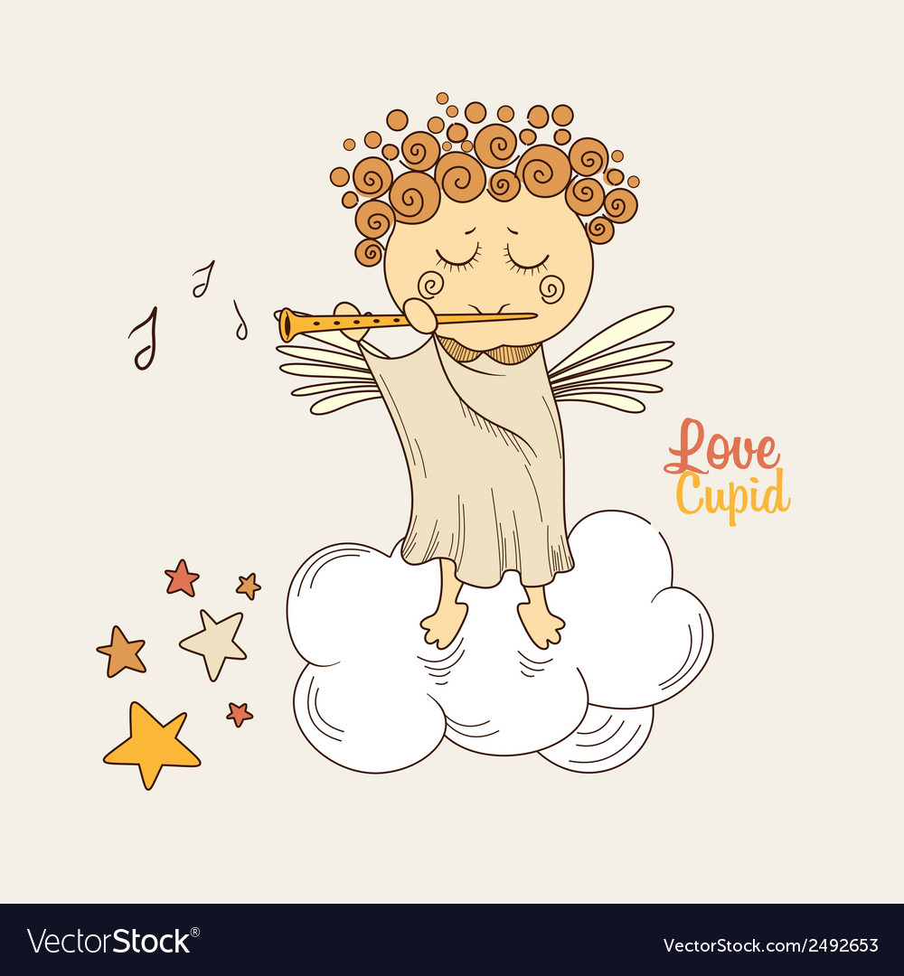 Cupid playing the flute vector | Price: 1 Credit (USD $1)