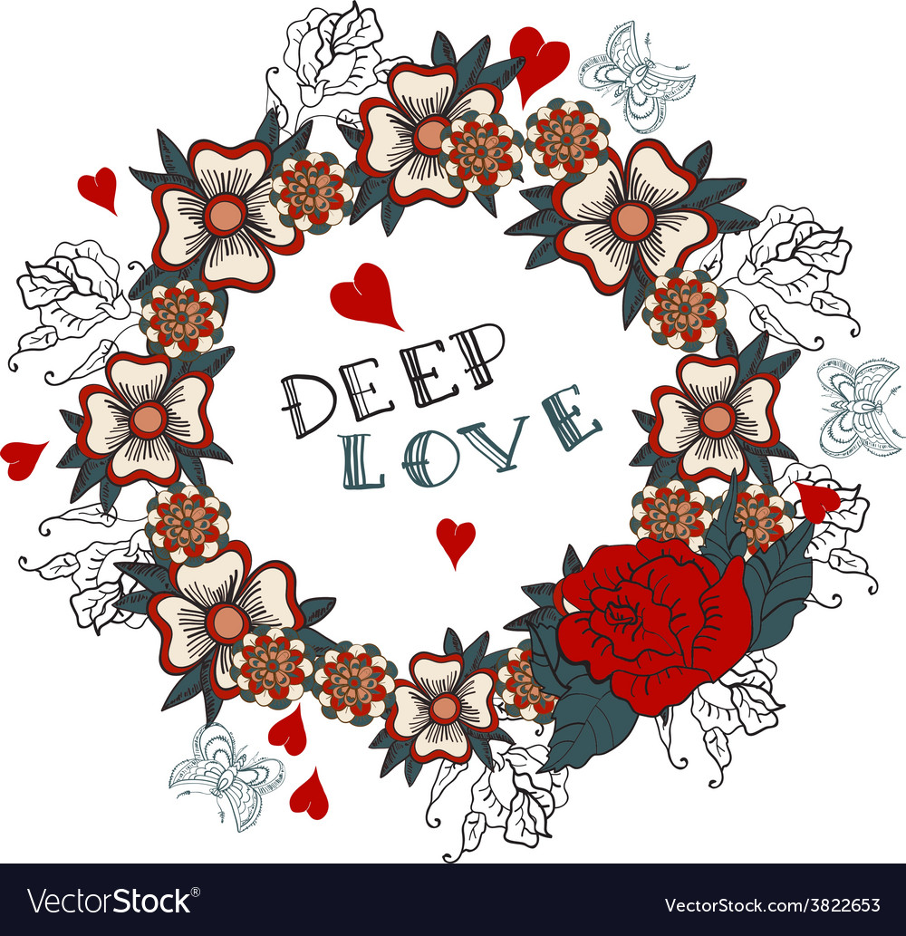 Deep love floral design vector | Price: 1 Credit (USD $1)