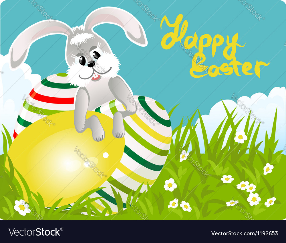 Easter bunny with colorful eggs vector | Price: 1 Credit (USD $1)