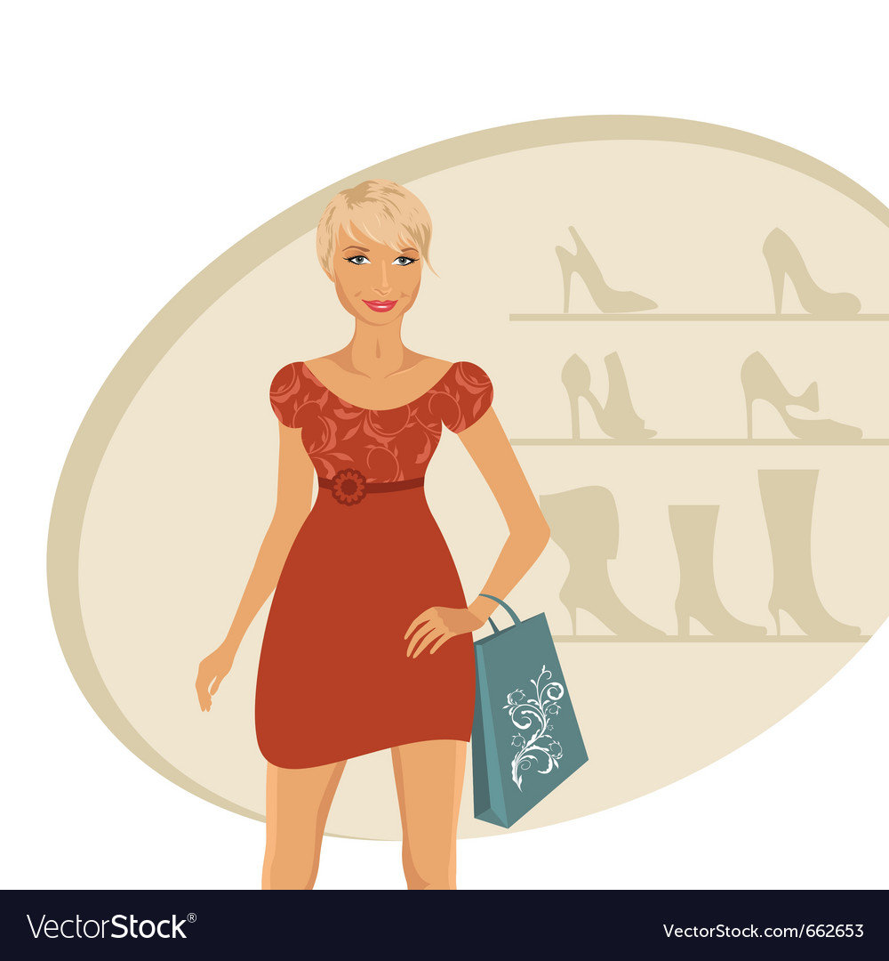Fashion girl shopping in shoe shop - vector   Price: 1 Credit (USD $1)