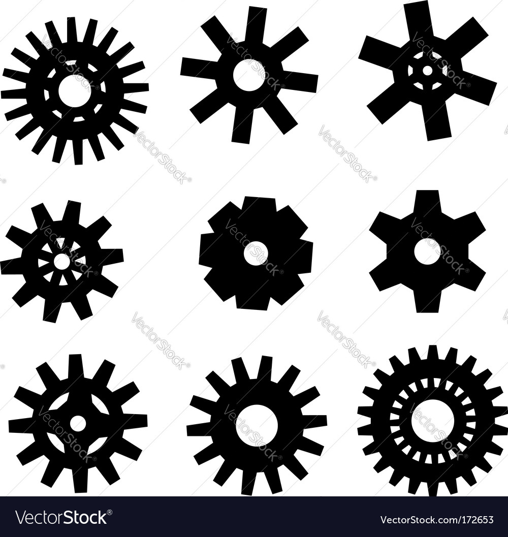 Gearwheel icons vector | Price: 1 Credit (USD $1)