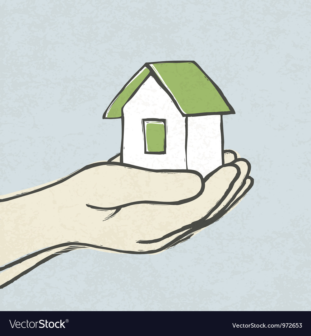 Green house in hands concept vector | Price: 1 Credit (USD $1)