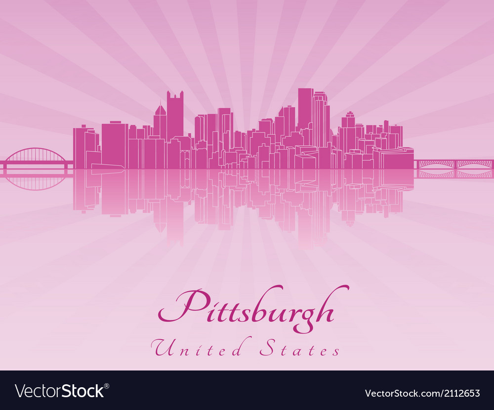 Pittsburgh skyline in purple radiant orchid vector | Price: 1 Credit (USD $1)