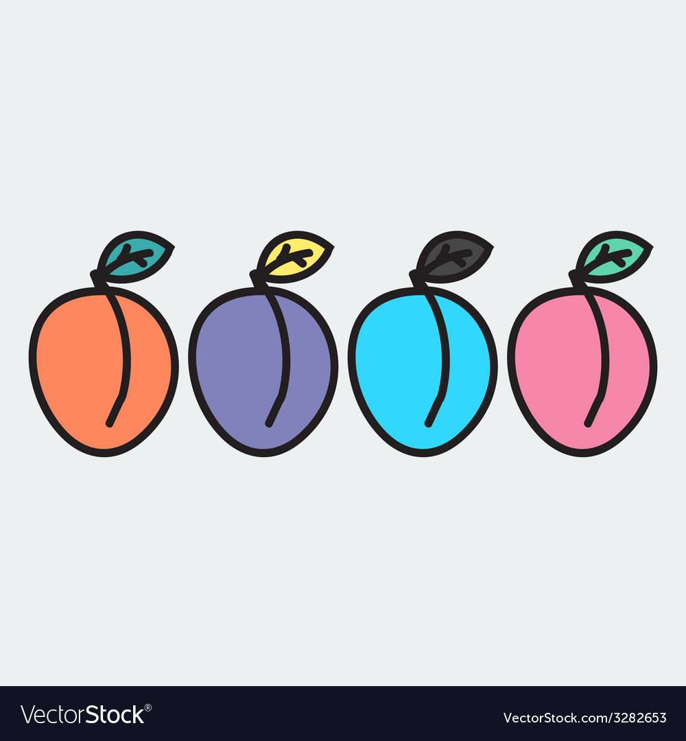 Set of hand-drawn apricot - on the theme of the vector | Price: 1 Credit (USD $1)