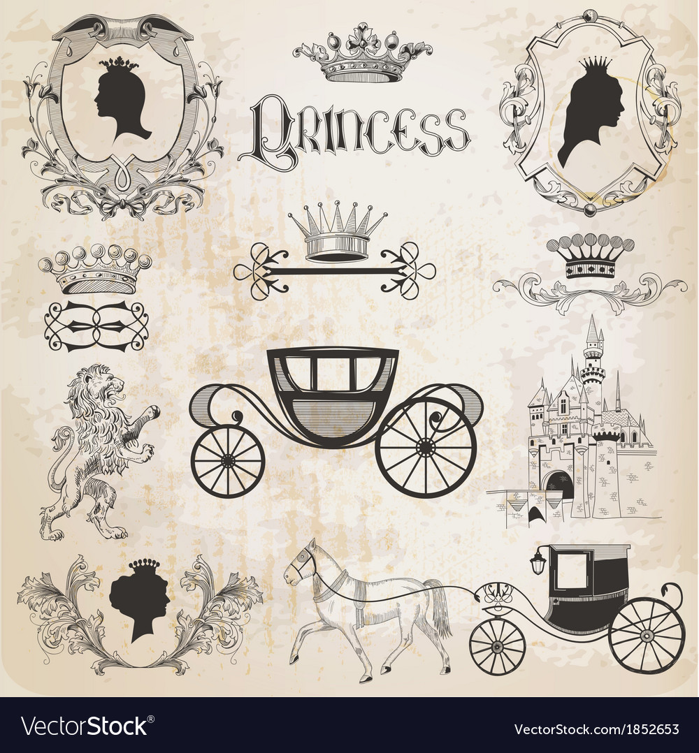 Vintage princess girl set vector | Price: 1 Credit (USD $1)