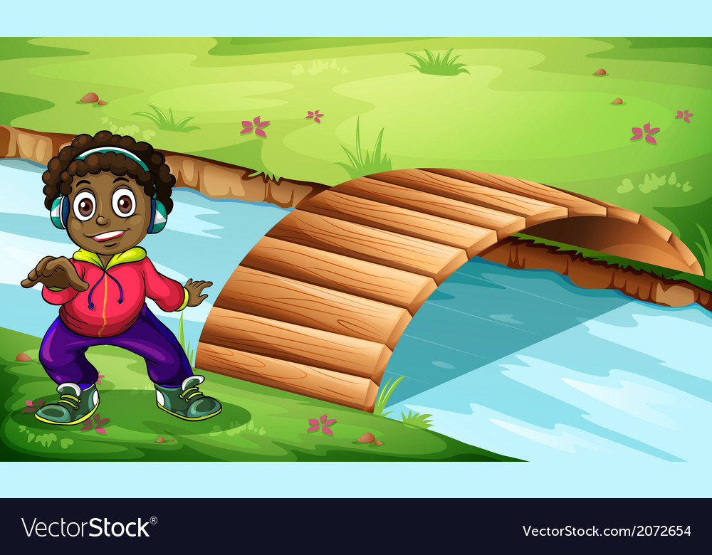 A boy near the bridge vector | Price: 3 Credit (USD $3)