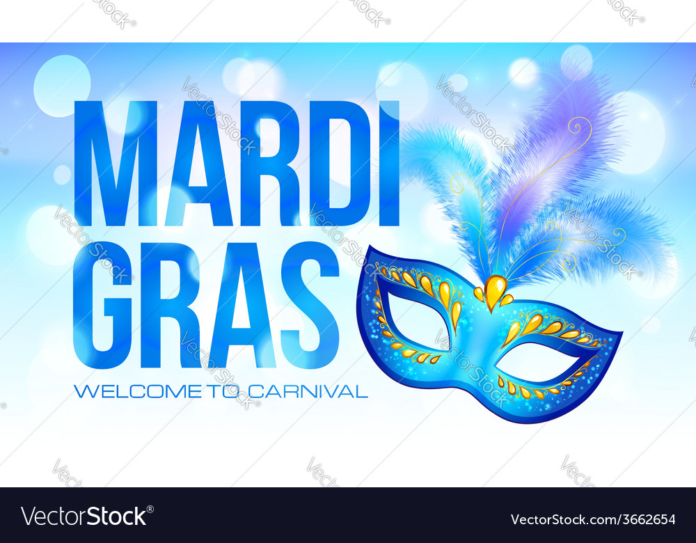 Blue mardi gras banner template with carnival mask vector | Price: 1 Credit (USD $1)