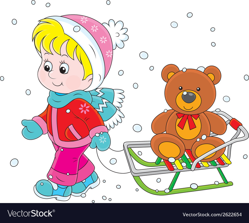 Child with a sled vector | Price: 1 Credit (USD $1)