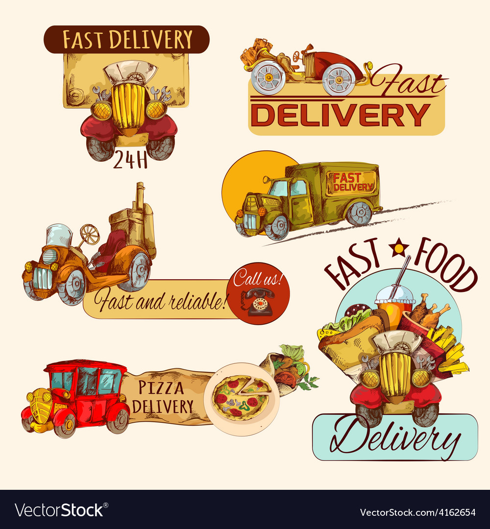 Delivery emblems set vector | Price: 3 Credit (USD $3)