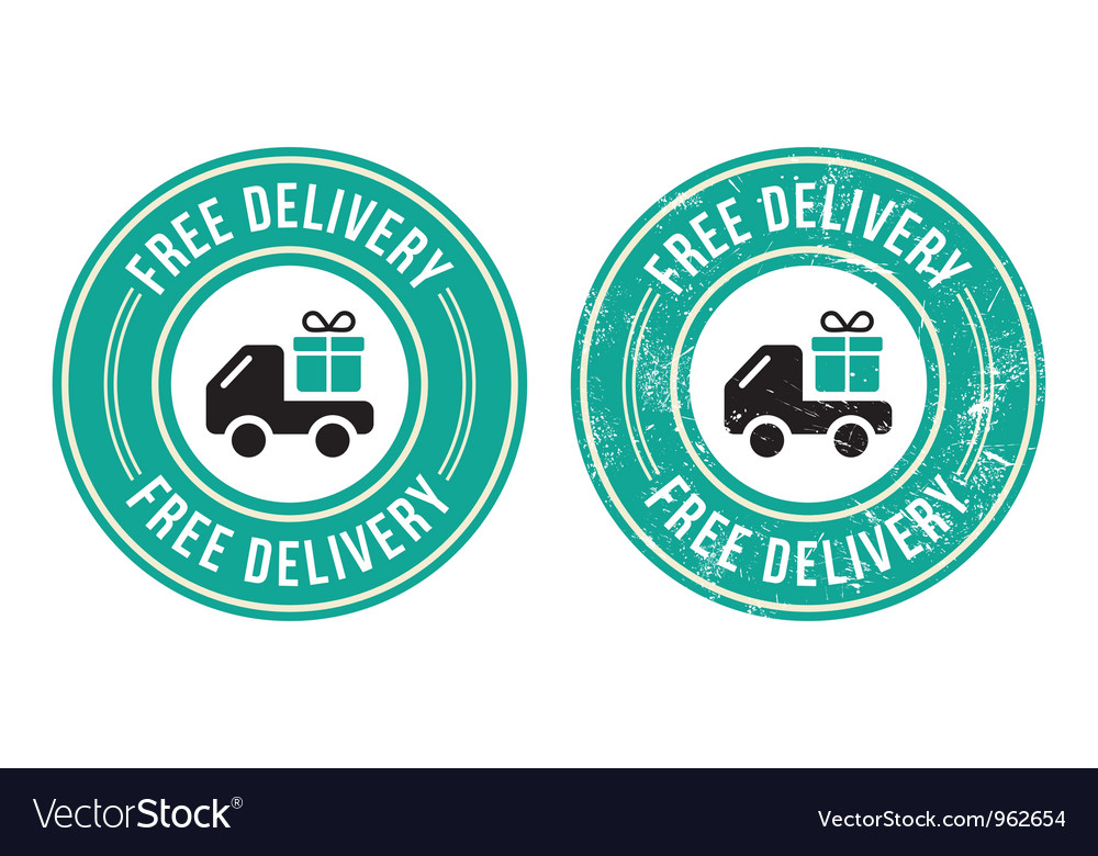 Free delivery retro grunge badge vector | Price: 1 Credit (USD $1)