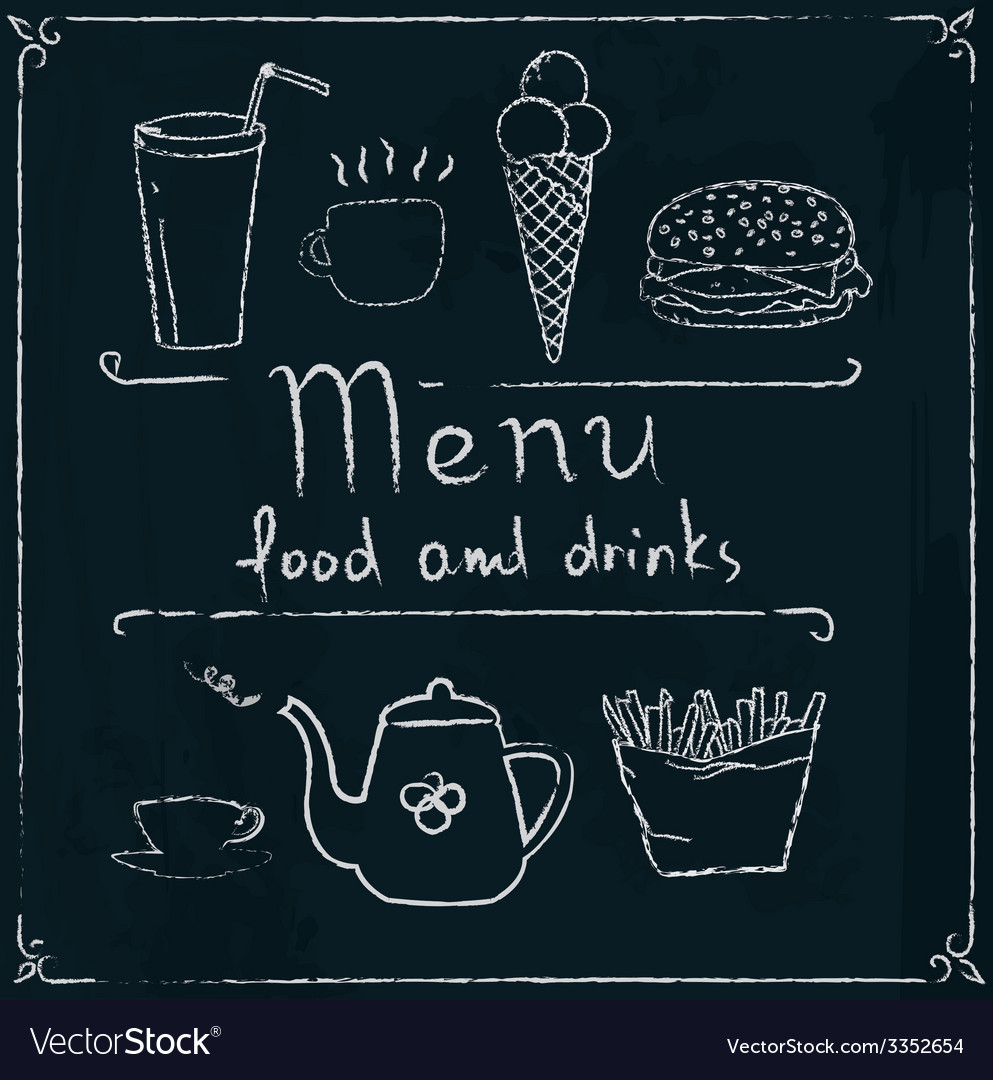 Hand drawn restaurant menu design on blackboard vector   Price: 1 Credit (USD $1)