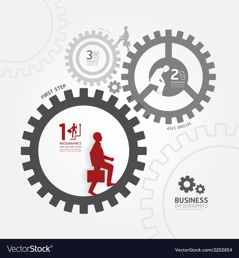 Infographics graphic businessman in gear vector | Price: 1 Credit (USD $1)