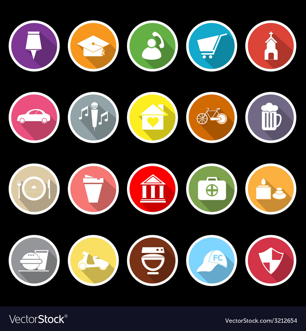 Map sign and symbol flat icons with long shadow vector | Price: 1 Credit (USD $1)