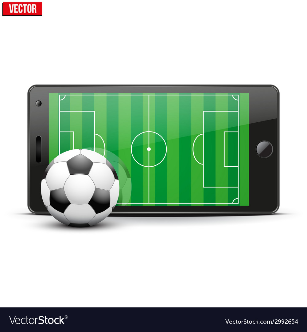 Mobile phone with soccer ball and field on the vector | Price: 1 Credit (USD $1)