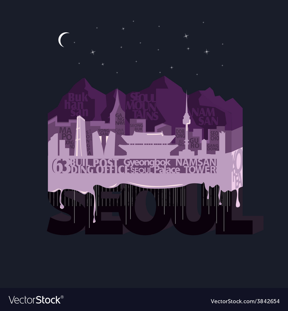 Night seoul typography vector | Price: 1 Credit (USD $1)