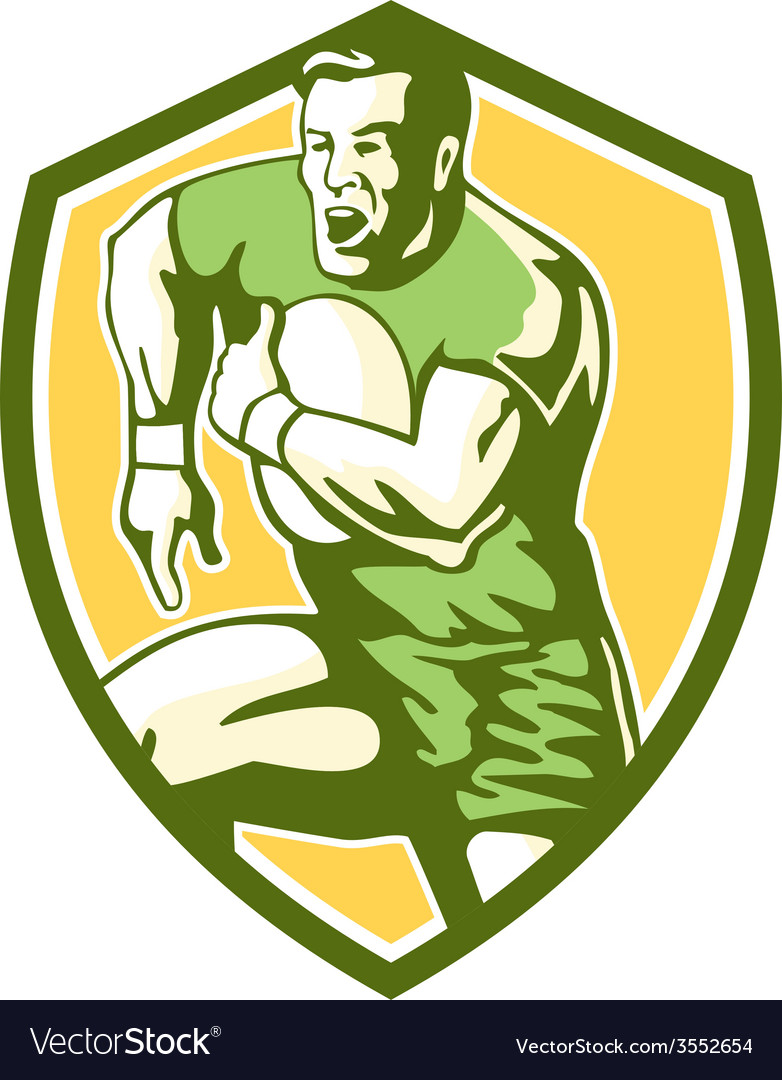 Rugby player running goose steps shield retro vector | Price: 1 Credit (USD $1)