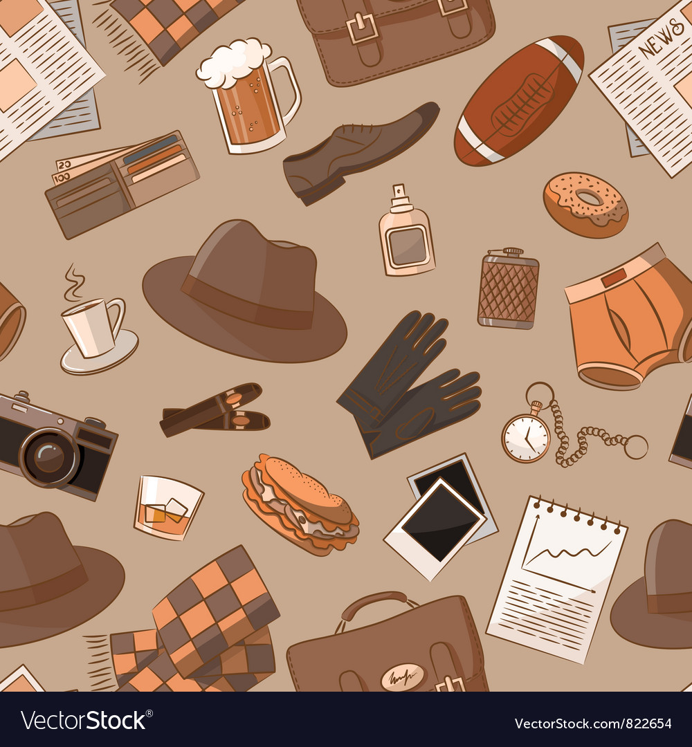 Seamless pattern with vintage male things vector | Price: 3 Credit (USD $3)