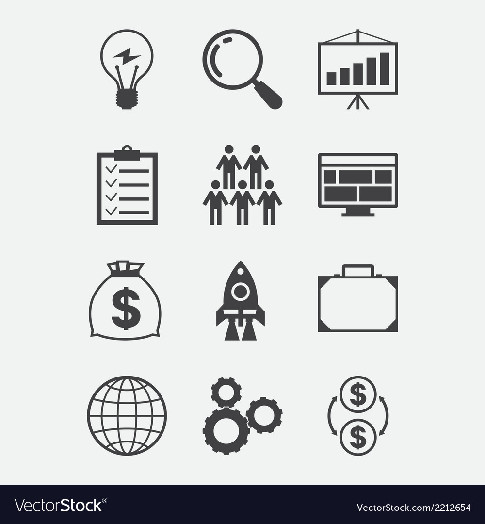 Start-up icon set in flat design style vector | Price: 1 Credit (USD $1)