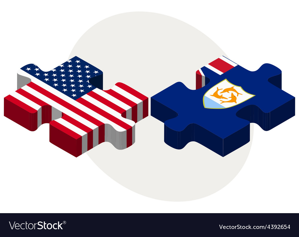 Usa and anguilla flags in puzzle vector | Price: 1 Credit (USD $1)