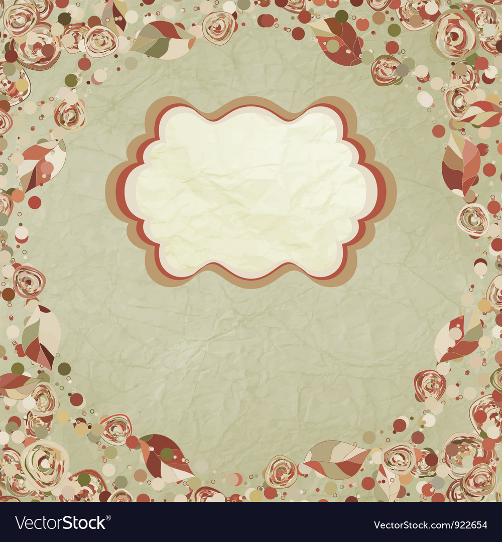 Vintage floral rose card vector | Price: 1 Credit (USD $1)