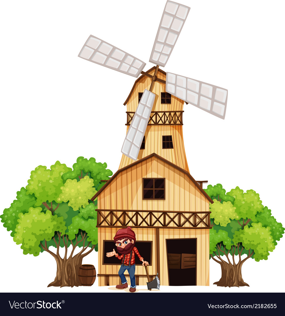 A woodman holding an axe beside the wooden vector | Price: 1 Credit (USD $1)