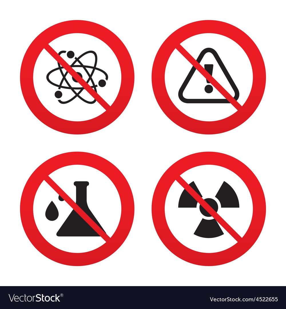 Attention radiation icons chemistry flask vector   Price: 1 Credit (USD $1)