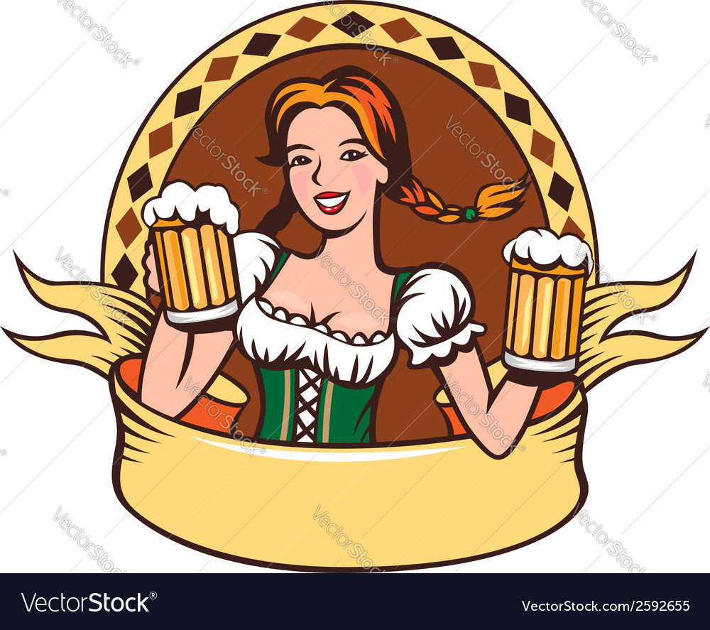 Beer girl emblem vector | Price: 1 Credit (USD $1)