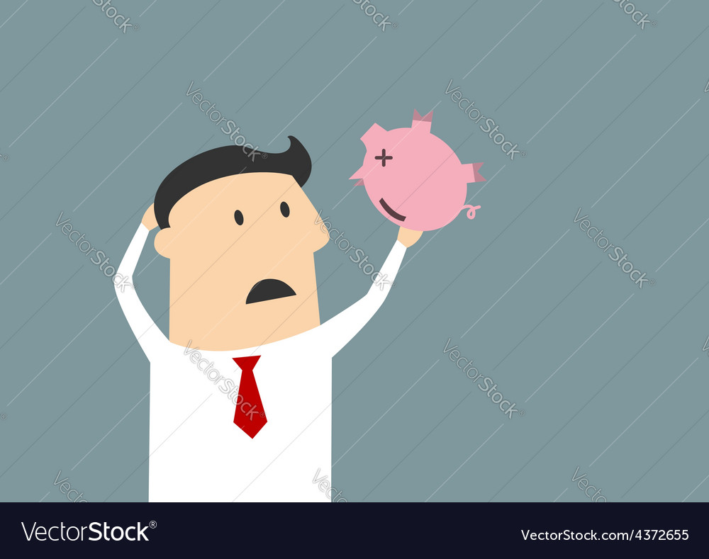Businessman shaking empty piggy bank vector | Price: 1 Credit (USD $1)
