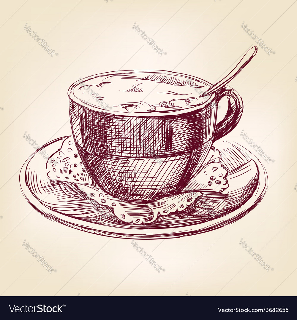 Coffee cup hand drawn llustration realistic sketch vector | Price: 1 Credit (USD $1)