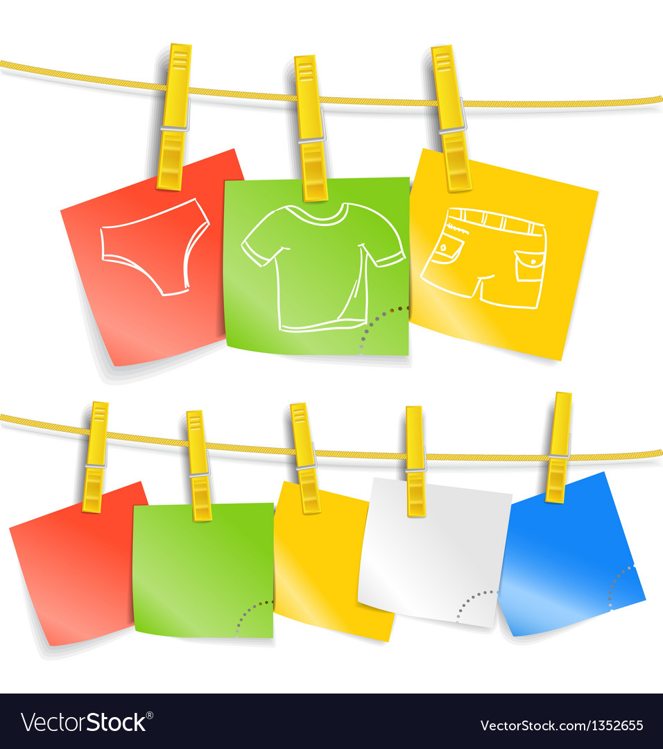 Color paper sheets on rope with pictures vector   Price: 1 Credit (USD $1)