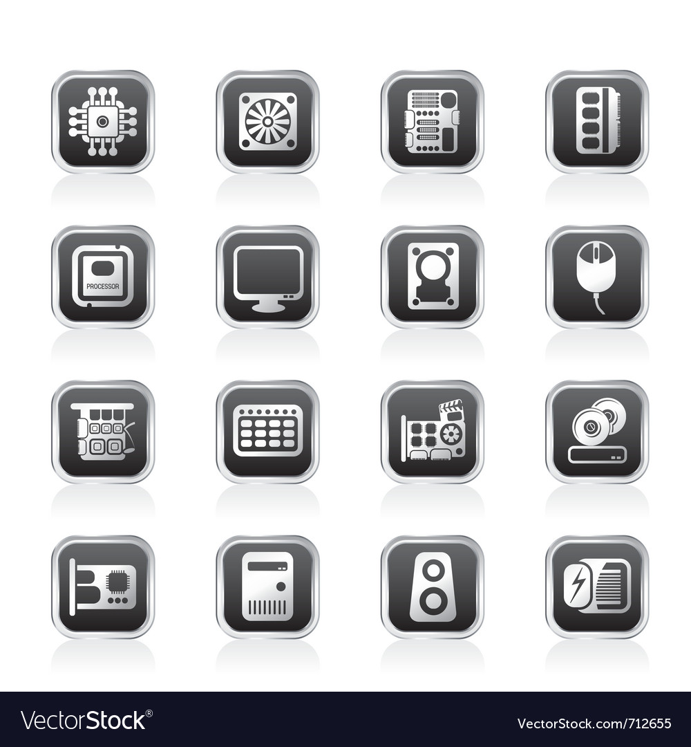 Computer performance and equipment icons vector | Price: 1 Credit (USD $1)