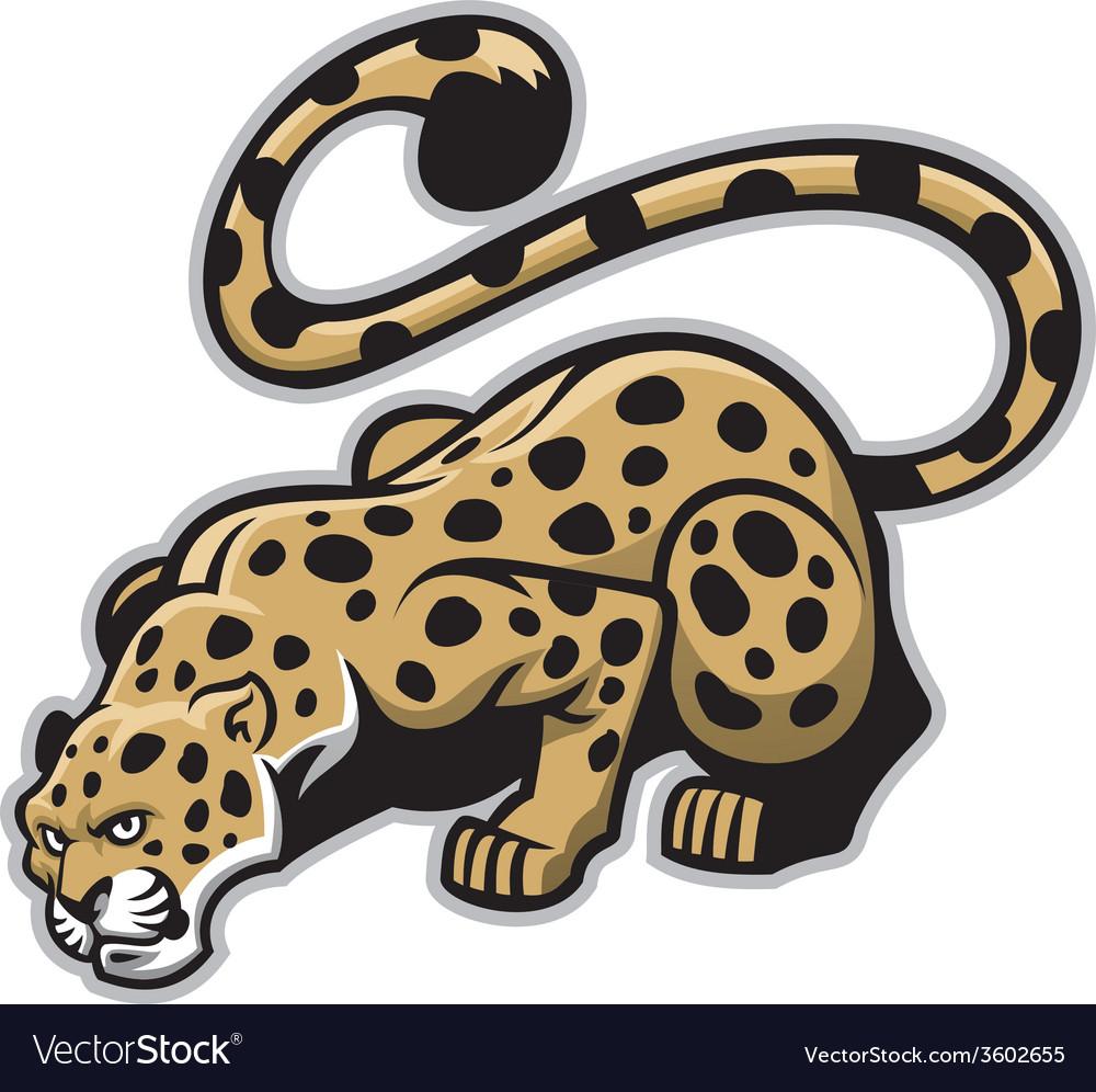 Crouching leopard mascot vector