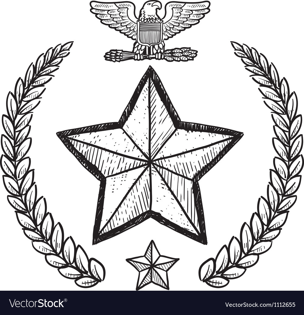 Doodle us military wreath army vector | Price: 1 Credit (USD $1)