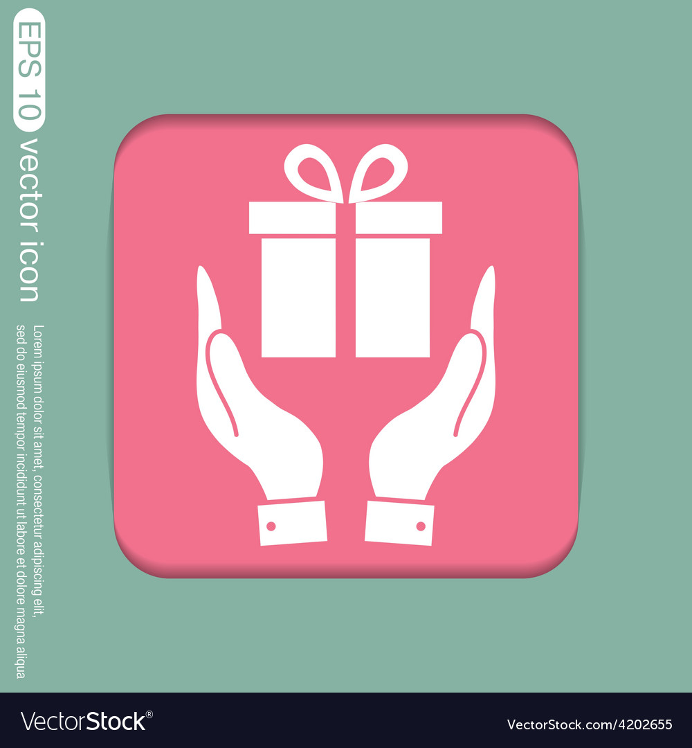 Hand holding a holiday gift box icon vector | Price: 1 Credit (USD $1)