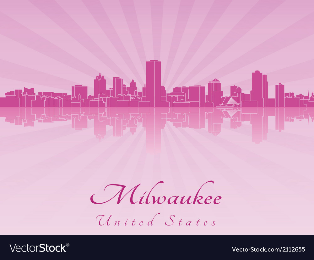 Milwaukee skyline in purple radiant orchid vector | Price: 1 Credit (USD $1)