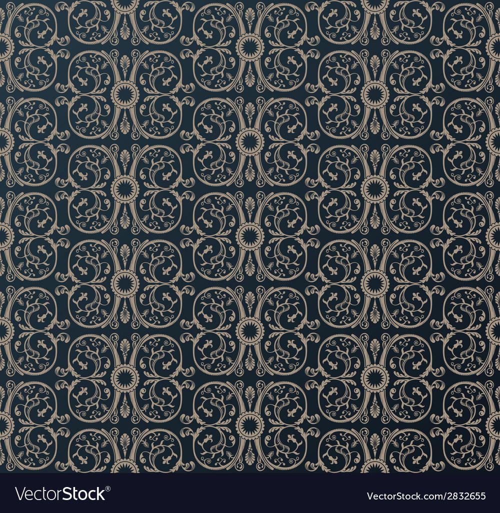 Seamless vintage heraldic wallpaper ornament black vector | Price: 1 Credit (USD $1)