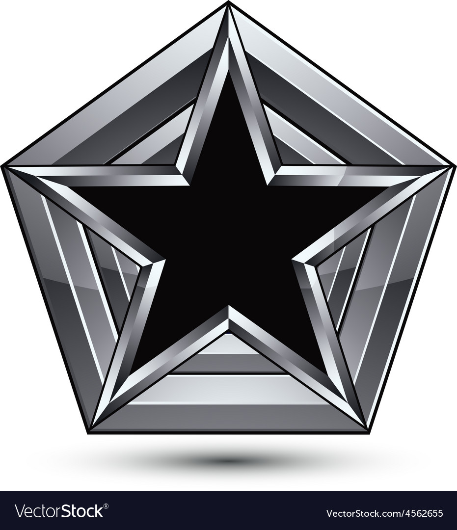 Silvery blazon with pentagonal black star can be vector | Price: 1 Credit (USD $1)